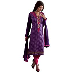 Charming Purple & Pink Coloured Embroidered Dress Material