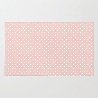 Society6 Polka Dots, Spots (Dotted Pattern) - Pink White Rug