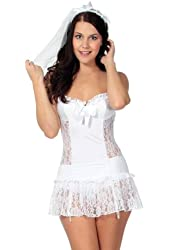 Simplicity Naughty Bride Set w/ Lace Chemise, Veil, Garters, & G String, White