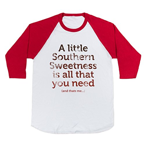 A Little Southern Sweetness (Juniors) Baseball T-Shirt (White/Red, Size L)
