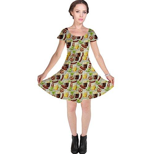 Colorful Glass Mugs Lager Dark Beer Hop Pretzel Sausage Pattern Cap Sleeve Dress