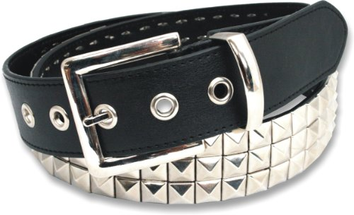 "Leather 3 Row Pyramid Studded Stud Black Belt Medium (32"" - 36"")"