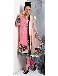 Utsav Fashion Women's Pink Net Churidar Kameez-Medium