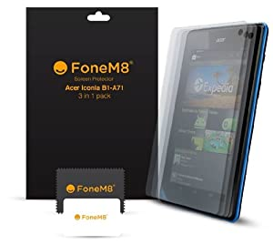 FoneM8® - Acer B1-A71 Screen Protector (PACK OF 3) Includes Microfibre Cleaning Cloth And Application Card