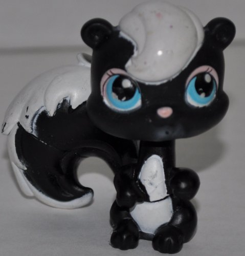 Skunk #85 (Black, Blue Eyes, White hair/belly/stripe) Littlest Pet Shop (Retired) Collector Toy - LPS Collectible Replacement Single Figure - Loose (OOP Out of Package & Print) - 1