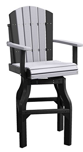 Set Of 2 Dining Height Outdoor Poly Adirondack Swivel Chairs - *Yellow/Black* Color front-1029481