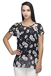 Indietoga Plus Size black georgette white flower printed designer casual Top for girls