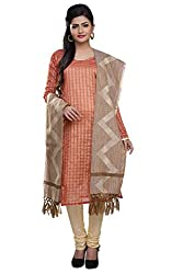 Rajnandini women's Silk Unstitched salwar suit Dress Material ( Orange _Free Size)