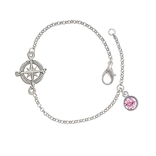 Cz Round - 6Mm Pink - Delicate Compass Bracelet