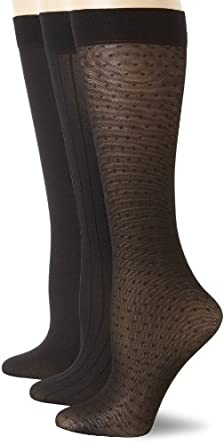 Anne Klein Women's 3 Pair Pack Mesh Dot Trouser Socks, Black/Black/Black, One Size
