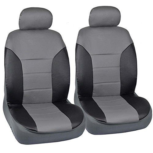 Motor Trend Black/Gray Two Tone PU Leather Car Seat Covers - Classic Accent - Premium Leatherette - Front Pair (Mazda 3 2005 Car Seats compare prices)