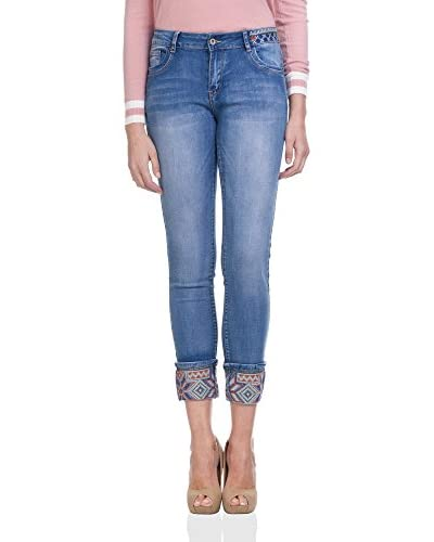 Tantra Jeans With Folk Details In Belt And Low Part denim