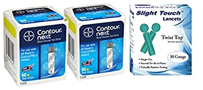 Bayer Contour Next Test Strips 100 Count, and 100 Slight Touch 30g Lancets