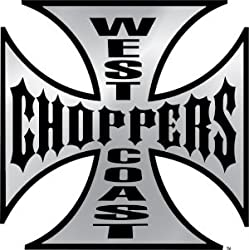 Sticker - West Coast Choppers - Cross/Chrome with Black Letters/Small