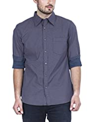 Zovi Men's Cotton Slim Fit Casual Cotton Navy Blue Printed Shirt - Full Sleeves (11001806801)