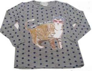 little paul&joe リトルポール&ジョー ネコプリントの長袖Tシャツ(86-114cm) グレー 6Y-114cm