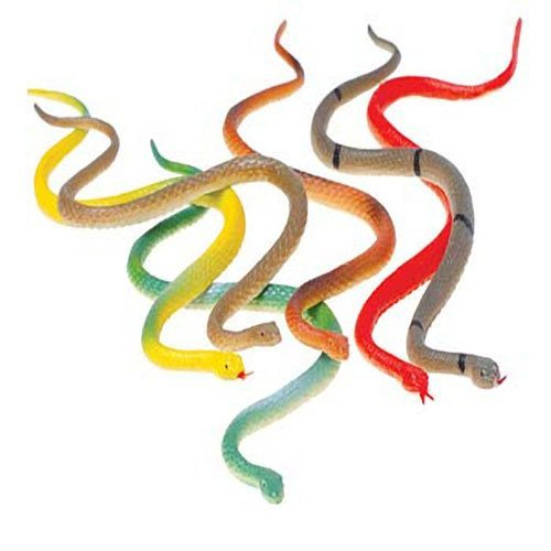 Lot Of 12 Assorted Design Toy Fake Plastic Snakes
