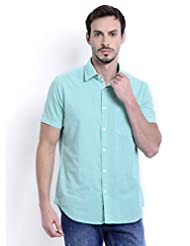 Sting Green Solid Slim Fit Half Sleeve CottonCasual Shirt For Men