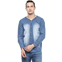 Atorse Mens Kurta Collar Blue Casual Denim Shirt