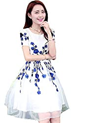 MAHAVIR FASHION WOMEN'S EMBROIDERED SEMI-STITCHED GEORGETTE WHITE DRESS WITH BLUE FLOWERS(MF_1016_V BLUE)