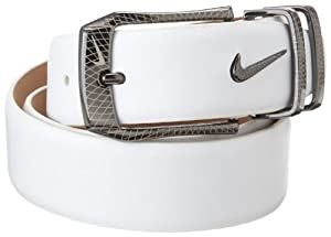 NIKE Golf Laser Etched Belt and Buckle (White, 36)