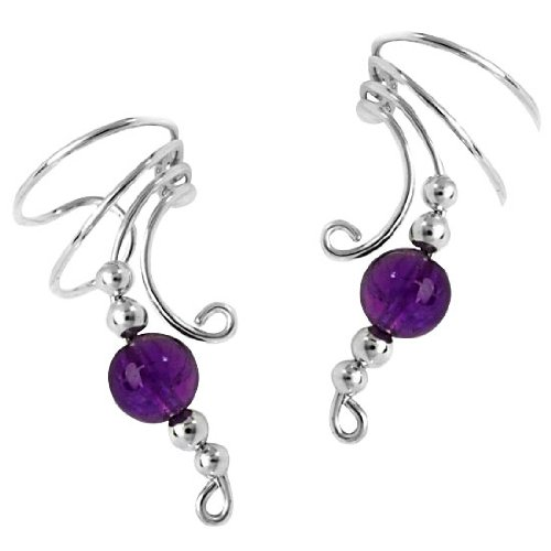 Sterling Silver Purple Amethyst Bead Wave Ear Cuff Wrap Set