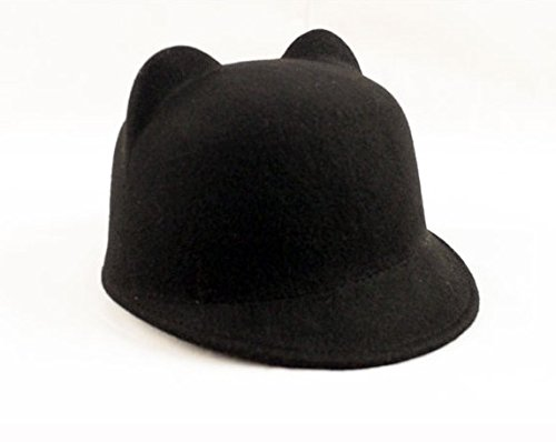 Fairy Season Winter Autumn Cute Women Devil Hat Cat Ears Bowler Fedora Wool Cap Black