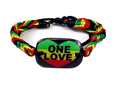 Rasta Braided Adjustable Bracelet with One Love Wooden ID Bar