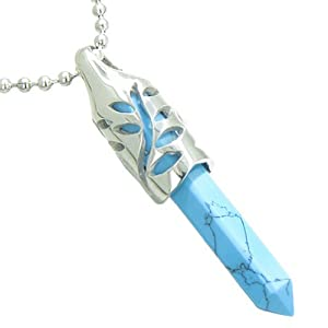 """Positive Energy Leaf Amulet Crystal Point Lucky Charm Simulated Turquoise 22"""" Necklace"""