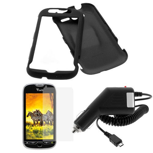 GTMax Black Rubberized Snap On Hard Cover Case + LCD Screen Protector + Car Charger For HTC myTouch 4G Cell Phone