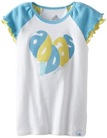 (必抢)阿迪达斯Adidas Girls 2-6x Pretty Cool Raglan可爱纯棉短袖T恤蓝$8.87