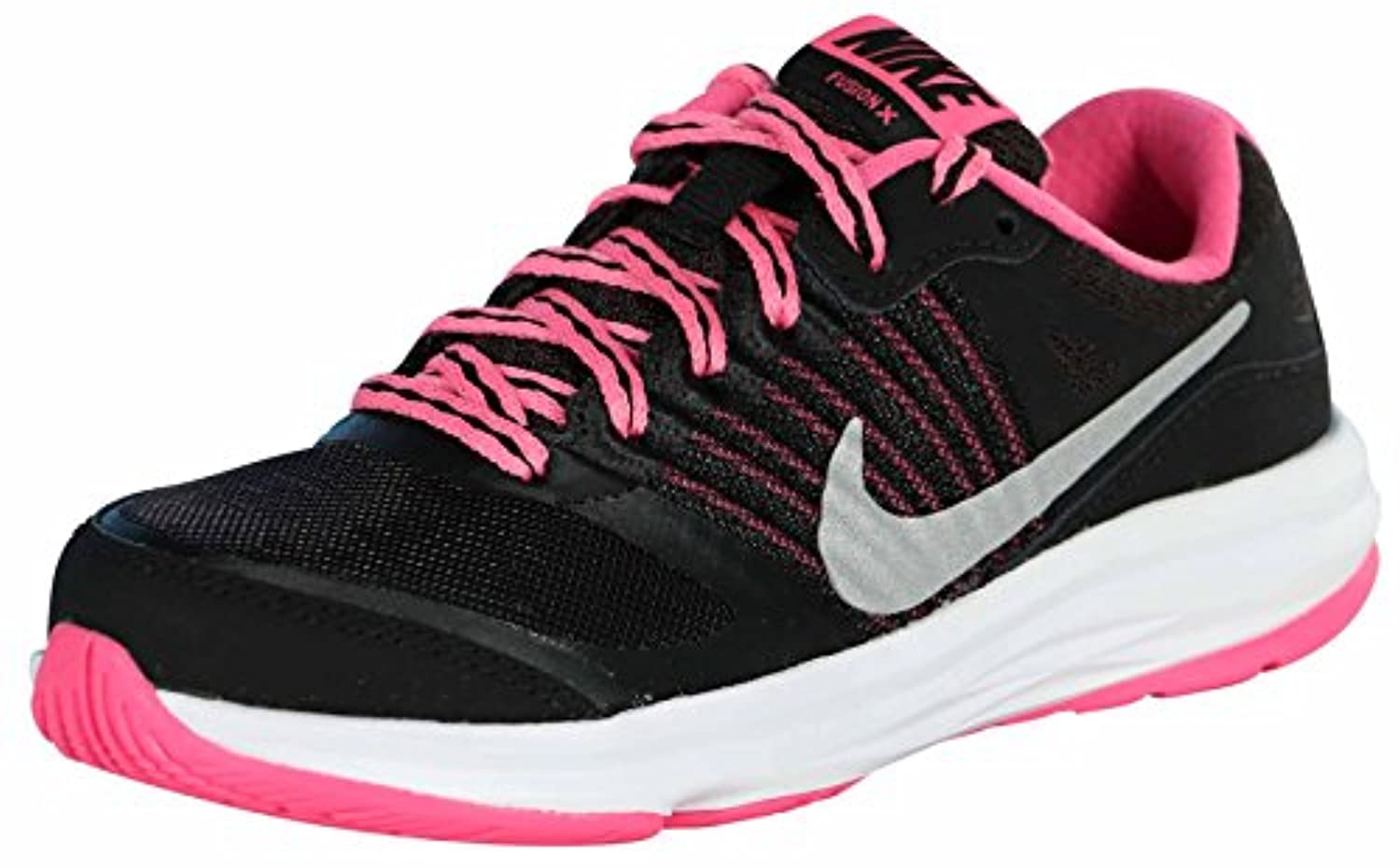 ... Nike Girls Dual Fusion X Running Shoe Preschool Shoes-BlackMetallic  silver- ...