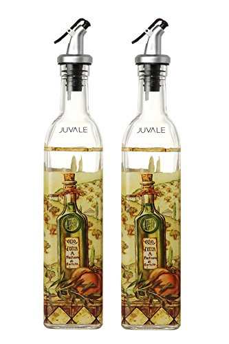 Olive Oil and Vinegar Dispensers - Oil and Vinegar Bottles with Lever Release Pourer, 2-Pack 17-Ounce Cruets