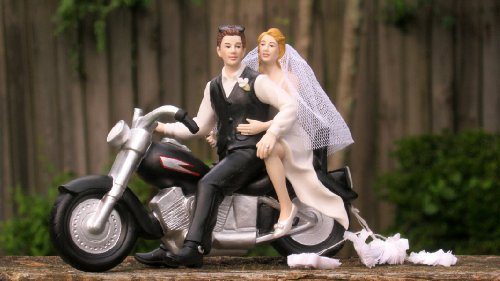 Motorcycle Biker Wedding Cake Topper