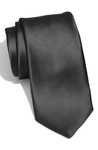 Skinny Slim Narrow Solid Black Necktie