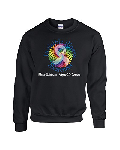 Invisible Illness Mucolipidoses Thyroid Cancer Purple Ribbon - Adult Sweatshirt (Thyroid Cancer Merchandise compare prices)
