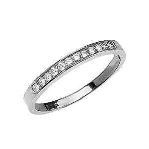 Diamond 10k White Gold Elegant Wedding Band (Size 7.75)