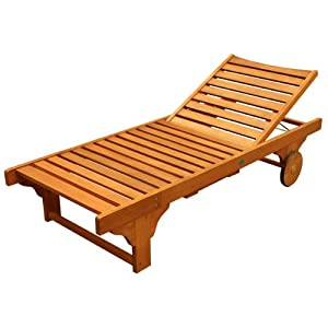 LuuNguyen - Lindy Outdoor Hardwood Chaise Lounge (Natural Wood Finish)