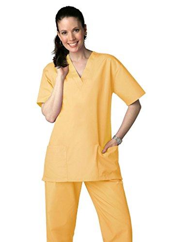 Adar Uniforms Discounted Unisex V-neckline Drawstring Pants Scrub Set - Roomy fit - 701 - Honey - XS