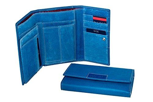 Portafoglio donna BASILE blu apertura a bottone con portamonete A4179