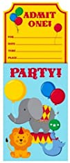 Creative Converting Circus Time Party Invitations 8-Count