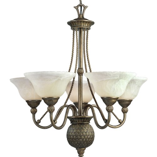 Progress Lighting P4010-86 5-Light Savannah Chandelier, Burnished Chestnut