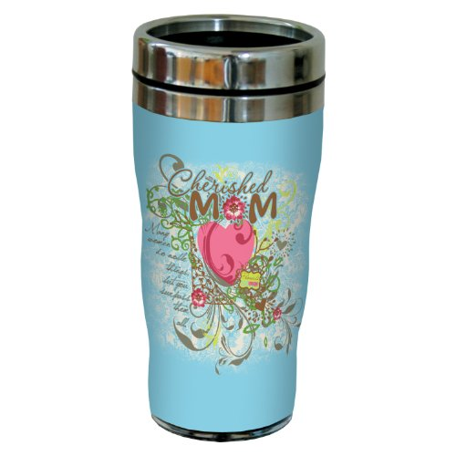 Tree-Free Greetings Sg24219 Cherished Mom: Proverbs 31:29 Sip 'N Go Stainless Steel Lined Travel Tumbler, 16-Ounce