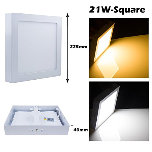 Cozyswan®New Energy Saving Cool White(6000-6500K)Dimmable Square Shape 18W Led Surface Panel Light Ceiling Downlight Lamp Surface Mounted For Home Use