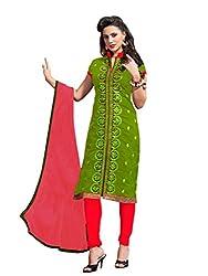 Fabnil Graceful apple green chanderi cotton unstitched embroidered salwar kameez