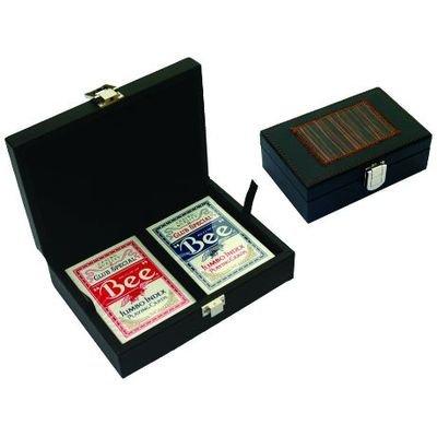 Coffret Poker avec 2 jeux 54 cartes (façon cuir)
