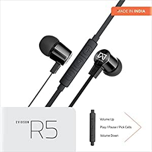 Evidson AudioWear R5 In-Ear earphones with 3 Button Remote & MIC- Enhanced Bass - Flat Cable - Made In India (BLACK)