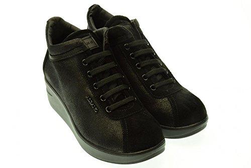 ALBANO donna sneakers alte con zeppa 105 CLAS VELUS NERO 40 Nero