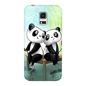 Ajay Enterprises Love Couple Panda Back Case Cover for Galaxy S5 Mini