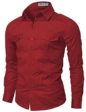 Doublju Mens Dress Shirt with Epaulet RED (US-S)